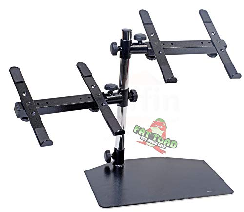 Double Computer Laptop Stand DJ Equipment by Fat Toad|2 Tier PC Table|Portable Clamp Rack with Duel Mounts for Studio Mixers, Controllers, Monitors, CD Players, Speakers & Mobile Disc Jockey Gear