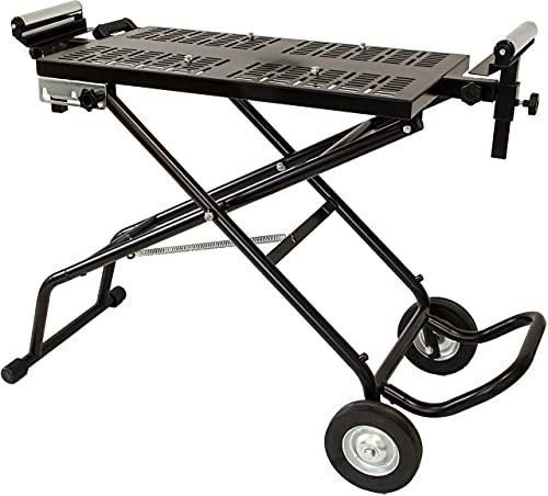 mobiler höhenverstellbarer Kappsägentisch, klappbare Werkbank mit verstellbaren Rollen, Arbeitstisch, Werktisch