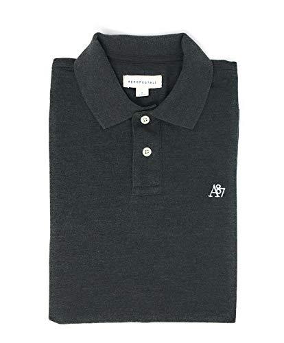 Camisa polo masculina de rúgbi com logotipo uniforme sólido AEROPOSTALE, Carvão, M