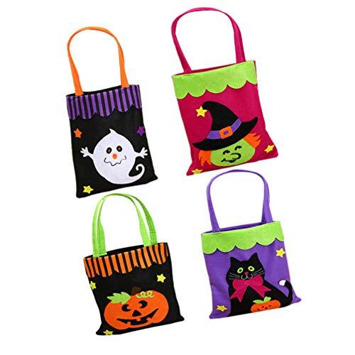 Tomaibaby 4Pcs Bolsos de Mano Bolsos de Regalo Bolsa de Asas de Halloween Bolsa de Halloween Bolsas de Dulces de Halloween para Fiesta Dulces Hogar Halloween