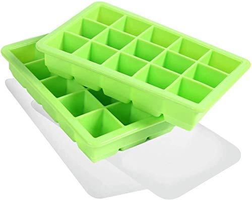 LessMo 3cm Bandeja de Cubitos de Hielo, moldes de Cubitos de Hielo de Silicona de 2 Piezas con Tapas Antideslizantes (Verde, Cubo de Hielo L)