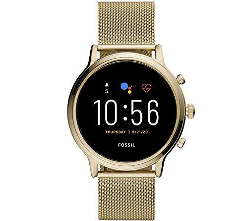Fossil Julianna - 5. Generation - Touchscreen-Smartwatch aus Edelstahl mit Lautsprecher mit Herzfrequenz-, GPS-, NFC- und Smartphone-Benachrichtigung für Frauen FTW6064