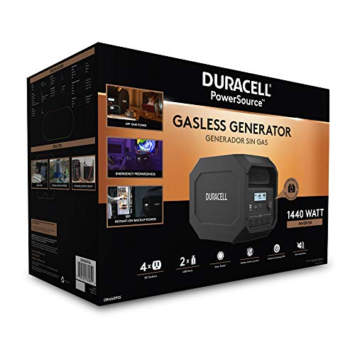 Duracell PowerSource Quiet Gasless Portable Power and Solar Generator, 1440w Output Inverter (1800w Peak)