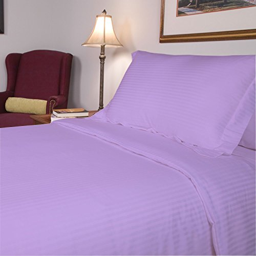 SRP Linen Egyptian Cotton 300-Thread-Count Super Soft 3PCs Zipper Closure Designer Duvet Cover Set Euro Double IKEA Striped Lavender