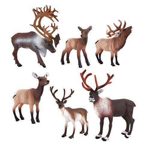 TOYANDONA 6 Unids Simulación Reno Juguete Figuras de Animales Salvajes Adorable Ciervo Modelo de Acción Niños Animal Juguete Adorno