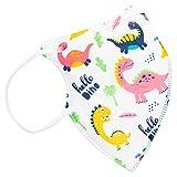 TBOC FFP2 Masken - [Pack 10 Einheiten] Einwegmasken [Kleine Größe] [Hello Dino] 5 Schichten [Nicht Wiederverwendbar] Atmungsaktives Falten mit Nasenklemme [Zertifiziert und Genehmigt CE 0370]