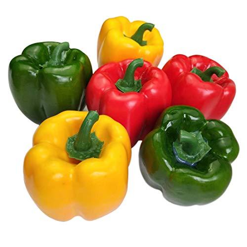 Lorigun Künstliche Paprika Gefälschte Gemüse Bunte Paprika Für Dekoration, Dekoratives Gemüse, Rot Grün Gelb Paprika 6 Stücke (Jede Farbe 2 Stücke)
