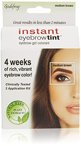 Godefroy Instant Eyebrow Color, Medium Brown, 0.18 ounces, 12-weeks of long lasting, 3-applications per kit