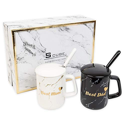 S_CUBE Kaffeetassen Marmor Tassen Set Kaffeebecher Mug Set Keramik 380ml mit Luxus Geschenkbox Eltern Geschenk (Best Dad & Best Mom)