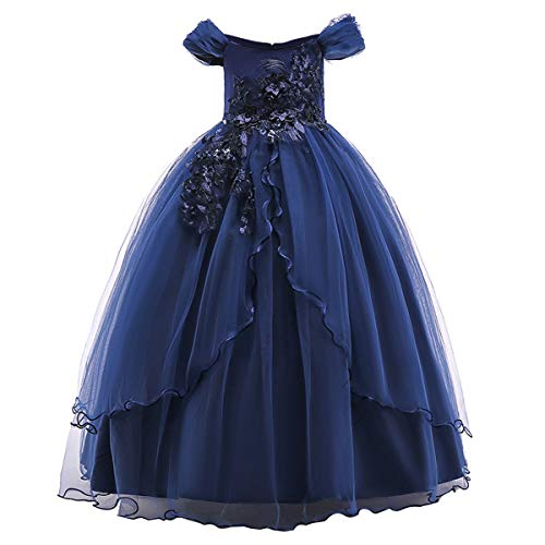 Kids Girl Off Shoulder Embroidery Flower Tulle Lace Long A Line Pageant Dress Wedding Birthday Party Floor Length First Communion Formal Princess Prom Holiday Dance Maxi Ball Gown Navy Blue 13-14