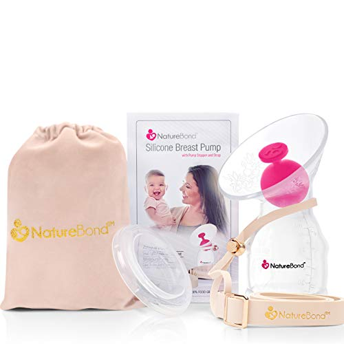 NatureBond Silicone Breastfeeding Manual Breast Pump Milk Saver Suction. New 2020 All-in-1 Pump Strap, Stopper, Cover Lid, Carry Pouch, Air-Tight Vacuum Sealed. BPA Free