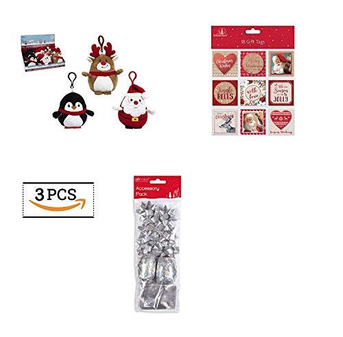 Set da mettere nella calza di Natale, fiocchi argento oro rosso novità etichette per regali identità etichette Name carta regalo natalizia a incastro morbido peluche bambola portachiavi giocattolo gioco per bambini