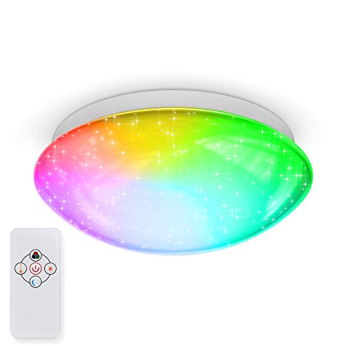 B.K.Licht 10W LED Sternenhimmel I dimmbare Deckenleuchte I RGBW Deckenlampe mit Farbwechsel I Nachtlichtfunktion I Sternendekor I 3.000K warmweiße Lichtfarbe I IR-Fernbedienung I Ø255mm