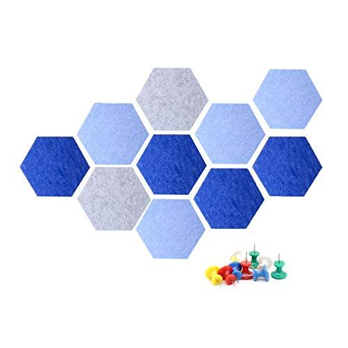 Coriver 10 piezas de tablero de corcho de fieltro hexagonal, tablero de anuncios, azulejos de bricolaje, tableros de alfileres autoadhesivos con 50 alfileres para notas de fotos de oficina (Set 1)