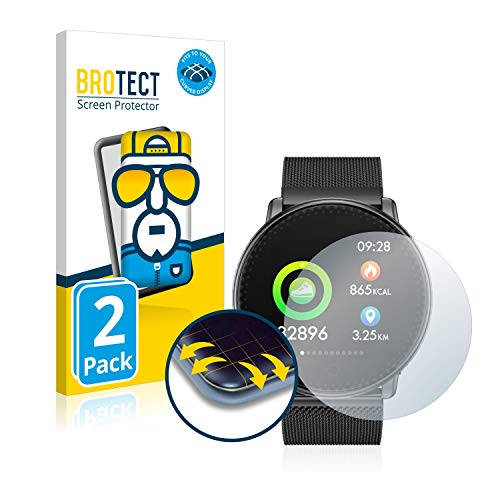 BROTECT Full-Cover Schutzfolie kompatibel mit Umidigi UWatch (2 Stück) - Full-Screen Displayschutz-Folie, 3D Curved, Kristall-Klar