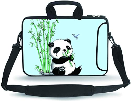 RUYIDAY 11 11.6 12 12.5 13 inches Case Laptop/Chromebook/Ultrabook/MacBook pro air Notebook PC Messenger Bag Tablet Travel Case Neoprene Handle Sleeve with Shoulder(Panda & Bamboo)