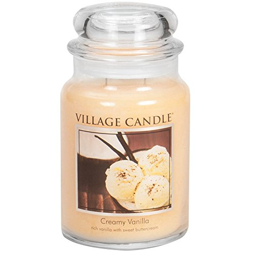 Village Candle Creamy Vanilla Large Glass Apothecary Jar Scented Candle, 21.25 oz, Ivory, 21 Ounce