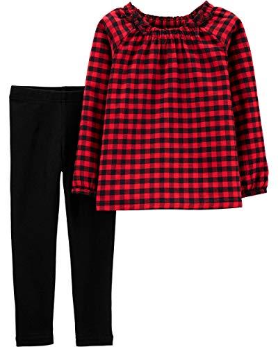 Juego de 2 piezas de parte superior y pantalón con forma de corazón,  Rojo/Negro/Sarga, 12 meses