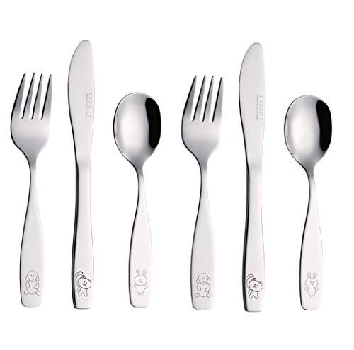 Exzact Couverts enfant en inox 6 Pièces: 2 x Fourchettes, 2 x Couteaux, 2 x Cuillères (Chien-Chat-Lapin x 6)