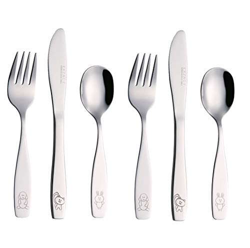 EXZACT Posate per bambini 6 pezzi in acciaio inox/posate bimbi - 2 x forchetta, 2 x...