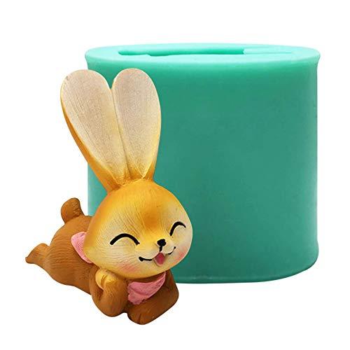 S/V Molde de silicona para hacer velas con forma de conejo, molde de silicona artesanal, molde para hacer velas