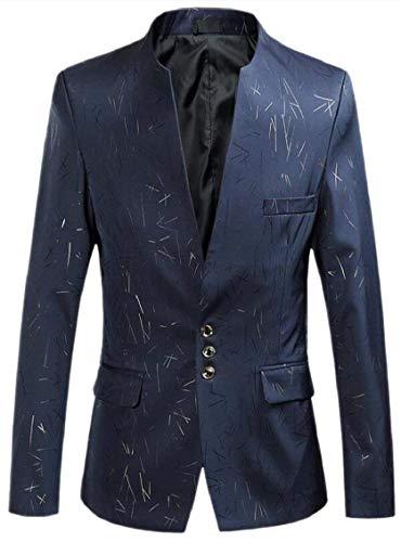 Herren Blazer Mantel Sakko Smoking Stehkragen Elegant Hochzeit Einfacher Stil Slim Fit Vintage Nner Klagejacke Langarm Anzugjacken Cocktail (Color : Marineblau, Size : 3XL)