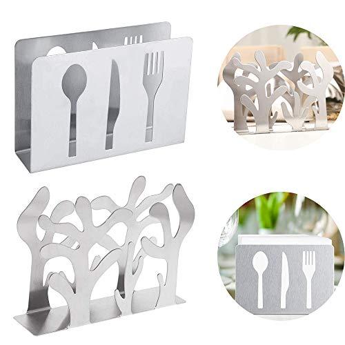 EIKLNN 2 Pezzi Portatovaglioli in Acciaio Inossidabile, Supporto per Tovaglioli da Cucina, Piccolo Dispenser Tovaglioli da Tavola, per Tavoli da Pranzo Kitchen Decor