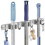 Soporte de escoba, soporte de pared para armario de escoba para cocina balcón garaje 3 clips y 4 ganchos sin taladrar (gris)