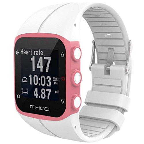 Saisiyiky Ersatzarmband aus weichem Silikon, für M430 GPS-Smartwatch, Bandbreite 23 mm, Weiß