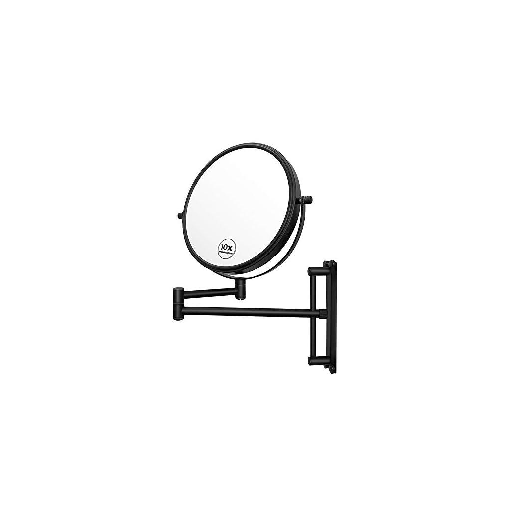 Lansi Miroir de maquillage mural grossissant x10 – Hauteur réglable – Double face – Pour salle de bain – Forme ronde…