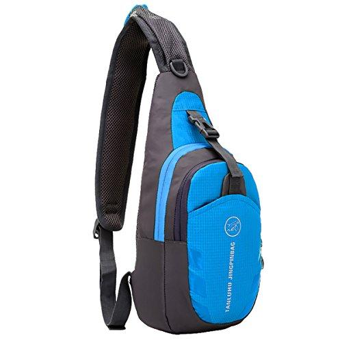 MPTECK @ Blu Impermeabili da Crossbody bag Sportivo Borse a spalla Zaino Monospalla Petto borse palestra Casual Marsupio Zainetto Borsa per Uomo e Donna per Esterni Trekking Escursionismo