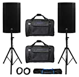 (2) Mackie Thump12A THUMP-12A 12' 2600w Powered DJ PA Speakers+Carry Bags+Stands