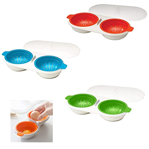 Horno de Microondas Cazador de Huevos, Cazador de Huevos Doble Microondas, Hervidor de Huevos Con Drenaje para Microondas, FuncióN Antiadherente, Utensilios de Cocina de Grado Alimenticio (rojo)