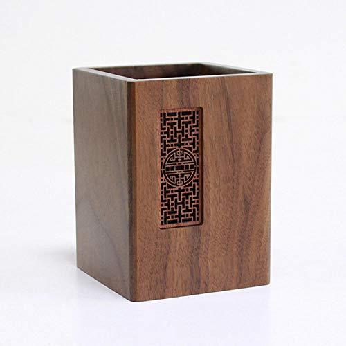 Titular de la pluma, titular de lápiz de madera Organizador de almacenamiento de la taza de lápiz, boletines de estilo chino retro para escritorio de oficina, el regalo perfecto-A-005