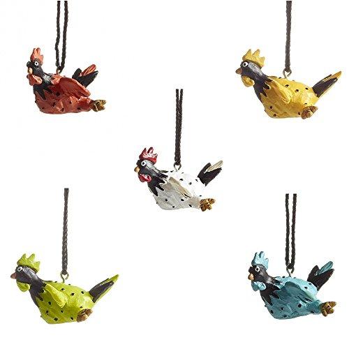Nääsgränsgården 5er-Set Fliegender Hahn Roffe ~ weiß, grün, orange, blau und gelb ~ Ostern ~ Osterdeko
