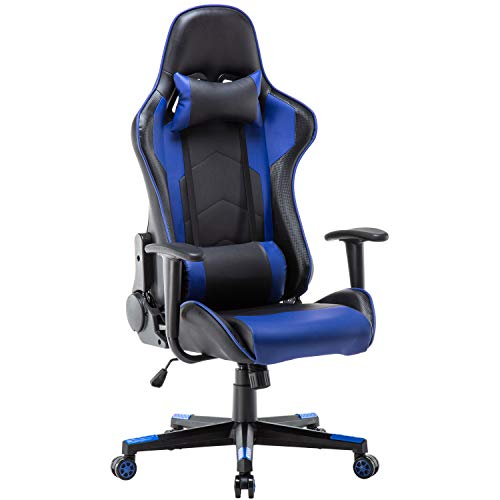 Polar Aurora Gaming Chair Racing Style High-Back PU Leather Office Chair Computer Desk Chair Executive Ergonomic Style Swivel Chair Headrest Lumbar Support (Blue)