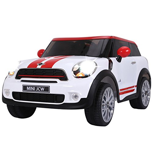 Costzon Kids Ride On Car, Licensed 12V Electric Mini PACEMAN, Remote Control Two Modes Operation, MP3 Lights (White)