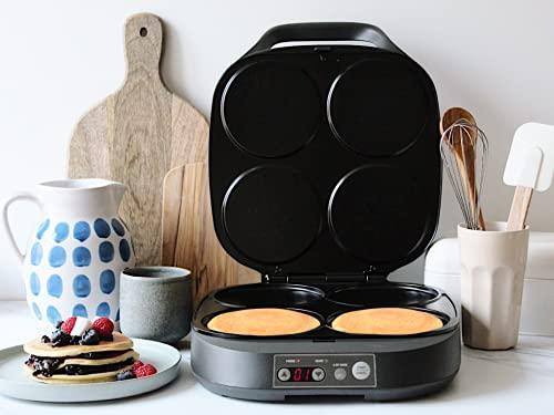 Flama Máquina de Tortitas, Crepes o Pancakes 4906FL, 2000W, 4 cavidades, Superficie Antiadherente, Panel de Control Digita, Almacenamiento Vertical, Sistema de Bloqueo e Indicadores Luminosos, Negro