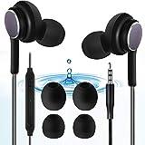 SOOTEWAY Cuffie Auricolari in Ear con Microfono, Sport Cuffiette Stereo con Cavo e Bassi Potenti per iPhone Samsung Xiaomi Huawei Cellulari Tablet PC, Nero