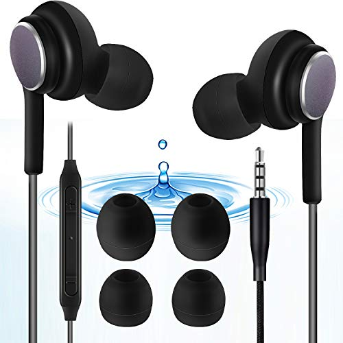 Sooteway In-Ear-Kopfhörer, geräuschisolierend, mit reinem Sound und kraftvollem Bass, Kopfhörer mit hochempfindlichem Mikrofon und Lautstärkeregler, Kopfhörer für iPhone, iPod, iPad, MP3, Samsung etc.