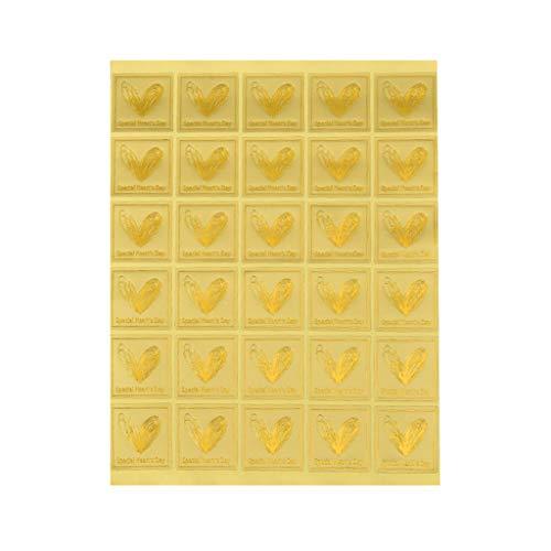 UEXCN 30 Blatt Metallic Gold Quadratische Aufkleber Buchstaben Herz Druck DIY Selbstklebende Etiketten Dekorieren Umschlag