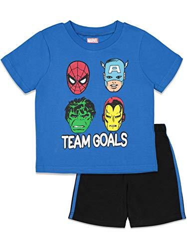 Marvel Avengers Toddler Boys T-Shirt and Mesh Shorts Set Spiderman Hulk Iron Man 3T