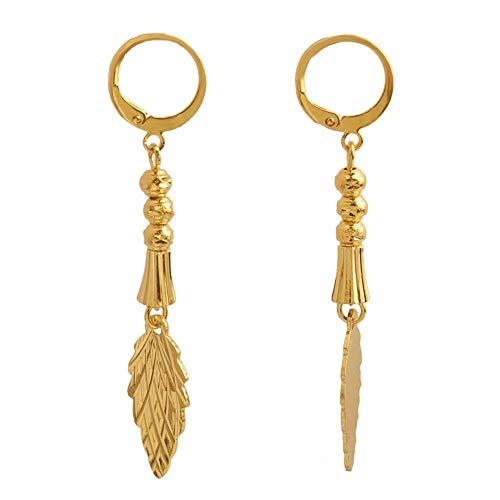 Gold Farbe Baum Blatt Ang Perlen Charm Ohrringe Frauen Mädchen afrikanischen Schmuck Im Nahen Osten arabischen trendigen Schmuck Ohrring Geschenke