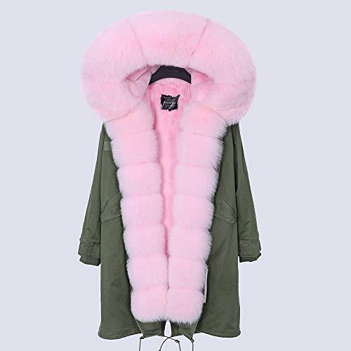 JNXFUZMG 2020 Mujeres de Invierno Abrigo Largo Abrigo de Moda Parques con Capucha Cuello Natural Chaquetas de Invierno (Color : 10, Size : XX-Large)