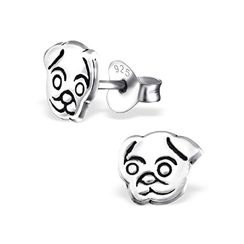The Rose & Silver Company Women 925 Sterling Silver Pug Dog Stud Earrings