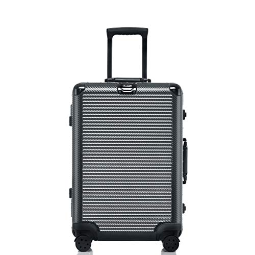 Aluminum Frame Luggage, Hardshell Durable PC Spinner Suitcase TSA Approved 28 Inch Dark Grey