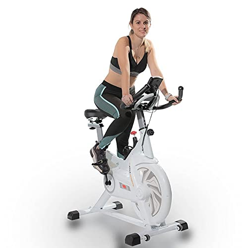 ATAA Power 300 Bicicleta de spinning - Blanco- Bicicleta estática de fitness, bicicleta estática con pantalla LCD con monitorización de calorías, velocidad, distancia y pulsómetro ⭐