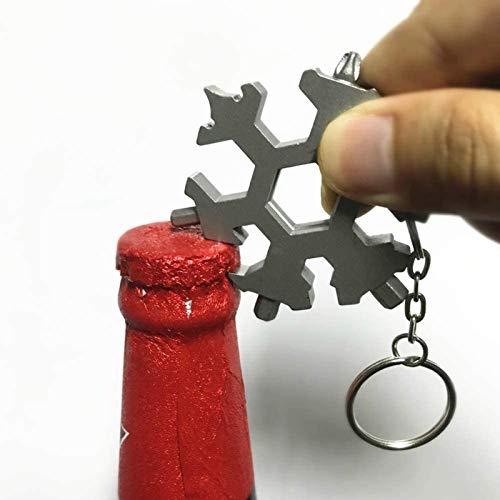 MRSDBTL 15 in 1 Incredible Tool - Snowflake Multi Tool - Stainless Steel Standard/Metric Wrenches Screwdriver Keychain, Bottle Opener, Cool Gadgets