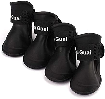 Black, S, United States : 4Pcs/ Lot Summer Pet Dog Shoes Waterproof Rain Pet Shoes for Dog Puppy Rubber Boots Portable Durable Puppy Shoes Pet Products
