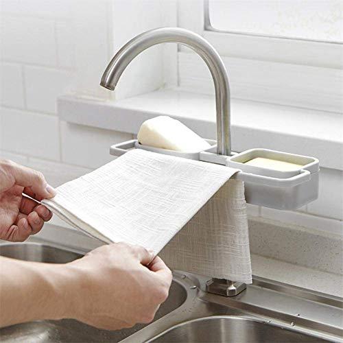 Iwinna Grifo de almacenamiento para fregadero de cocina con esponja de jabón ClotIwinna escurridor organizador de estante Frugal